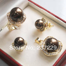 Wholesale price SHIPPING ^^^^Beautiful Chocolate shell pearl yellow gold jewelery set(China)