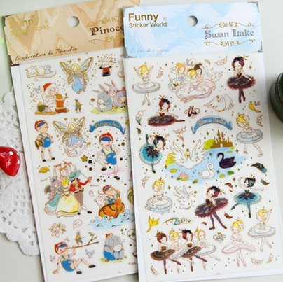 1pack/lot  funny alice series pinocchio swan lake deco PVC sticker Mobile Phone Stickers Decoration label