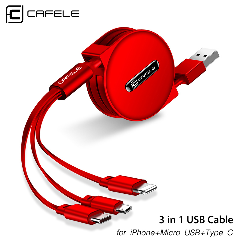Cafele 3 in 1 Retractable USB Cable for iPhone Micro USB Type C Flat Cable Fast Charging for iPhone Cable+ Micro USB+Type-C