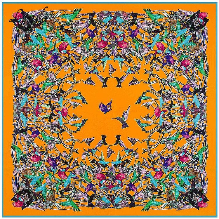 2019 Womens Vierkante Etnische Zijden sjaals Vrouwen Luxe Merk Twill - Kledingaccessoires - Foto 2