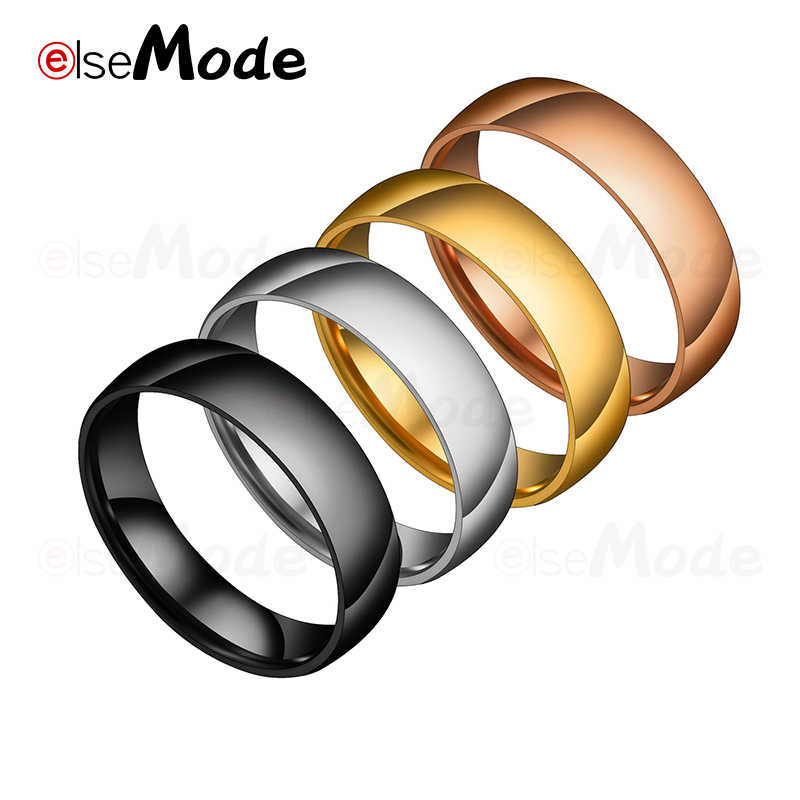 ELSEMODE 6mm 316L Stainless Steel Shiny Polished Ring Men Women Wedding Engagement Band Rings Rose Gold Silver Black Multi Color