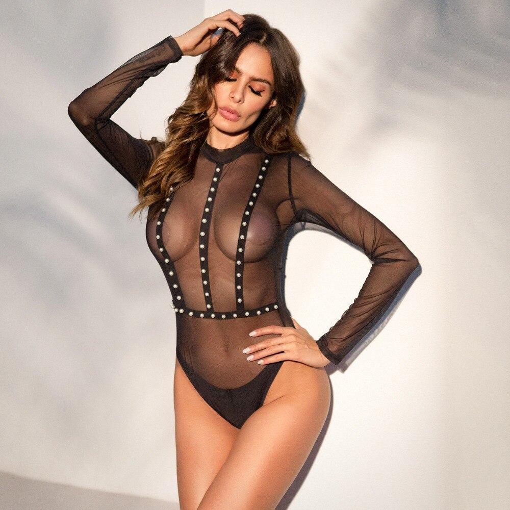 Iefiel women's fishnet see through sheer bodysuits long sleeve sexy leotard jumpsuit club tops