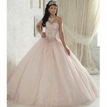 Beautiful Light Pink Quinceanera Dress 2017 Vestido de 15 nos Tulle Sweet  16 Dresses Sweetheart Rhinestone 52f4c214a6a0