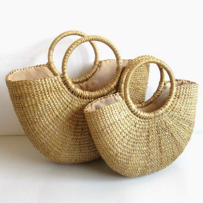 1 шт. летние пляжные сумки, твердые плетеные бамбуковые сумки, сумочки с деревянными ручками и клапаном, женские круглые соломенные сумки, сумки в форме полумесяца Сумки с ручками    АлиЭкспресс