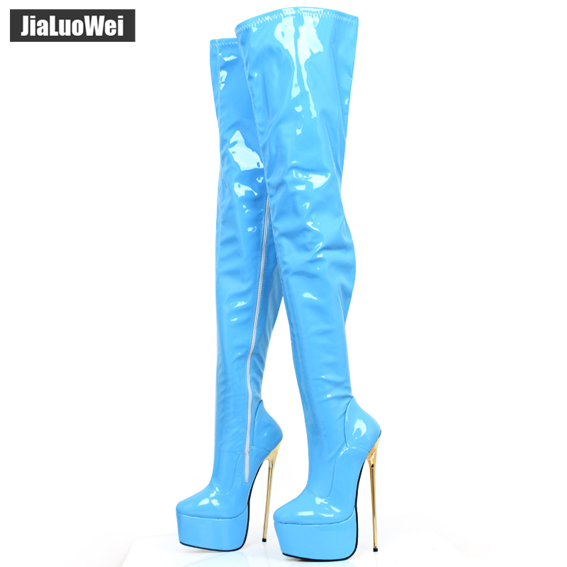 jialuowei Brand 22CM Extreme High Heel Gold Metal Heel Platform Sexy Fetish Stiletto Zip Party Over The Knee Thigh Long Boots jialuowei 20cm ultra high heel chunky heels platform zip buckle boots women dance party over knee fetish thigh high shoes
