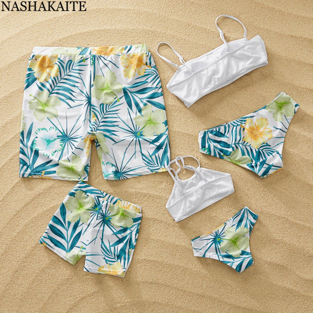 3fd1249159 NASHAKAITE Family Look Matching Swimsuit 2019 Leaf Print Bikini Set Mother  Daughter Swimming Trunks For Kids Men Shorts