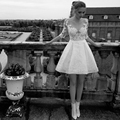 2017 New Arrival A line Appliqued Knee Length Half Sleeve Wedding Gowns trouwjurk vestido de noiva curto Short Wedding Dress