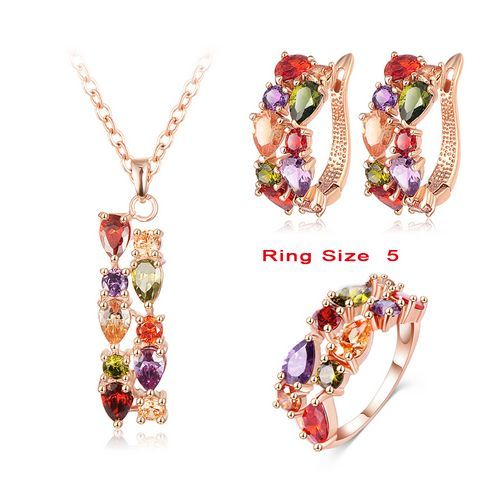 LZESHINE New Top 18K Rose Gold Plate Flower Jewelry Set Multicolor Cubic Zircon Pendant/Earrings/Ring Women Wedding Jewelry Sets