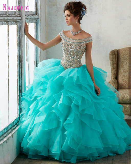Najowpjg 2017 New Arrive Delicate Crystal Sky Blue Quinceanera Dresses Romantic Ruffles Vestido Sweetheart Party Dress Plus Size