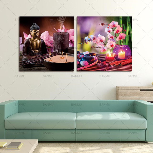Superior Buddha Canvas Painting Wall Art Spa Stone With Butterfly Orchid Picture  Print On Canvas,zen
