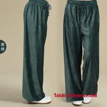Китайские мужские и женские тренировочные штаны Tai Chi, вельветовые штаны, домашняя одежда, штаны для йоги, отдыха, спорта