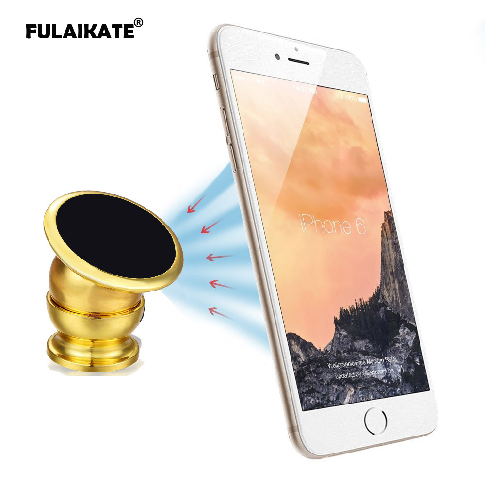 FULAIKATE Universal Magnetic Car Mount Dashboard Phone Holder for iPhone7 6s Stand 360 Degrees Rotatable Steel Ball Base Support