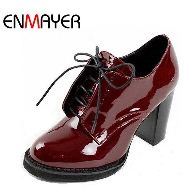 ENMAYER Модные женские ботильоны на шнуровке Женские ботинки на платформе для женская свадебная обувь высокий каблук мотоботы обувь женщина