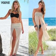 YCDYZ, сексуальное бикини с вырезом, пляжный купальник,, женский, вязаный крючком, купальный костюм, накидка, летнее свободное пляжное платье