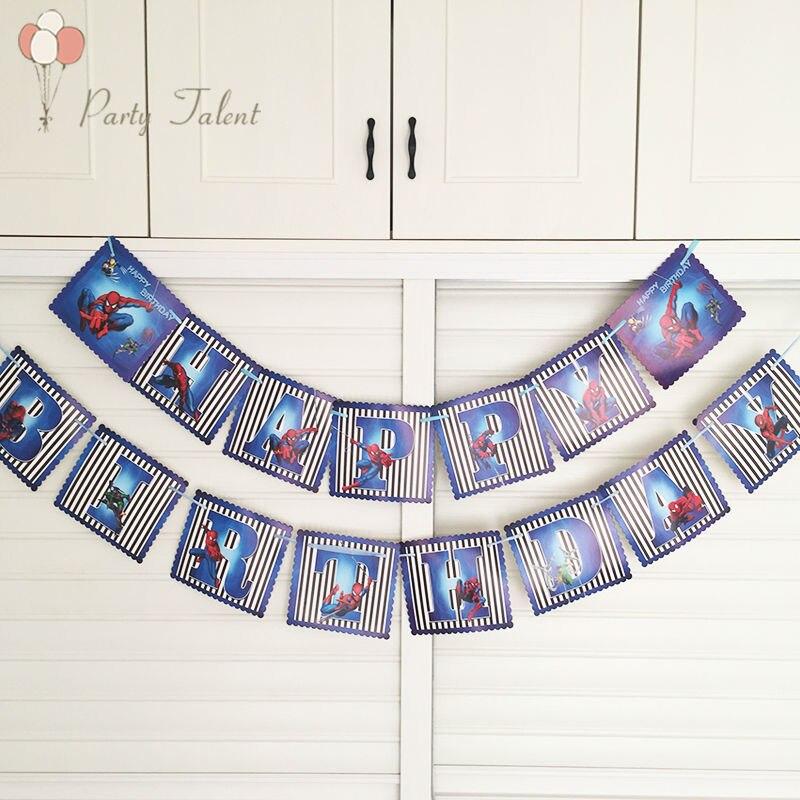 Diy spiderman dog pig bunting banner happy birthday letter for Shoulder decoration 9 letters