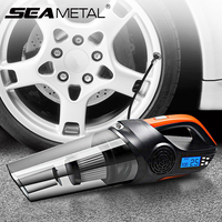 12V Car Vacuum Cleaner Auto Inflatable Pump Universal Mini Air Compressor Automobiles Tire Pressure Display LED Lights Cleaner