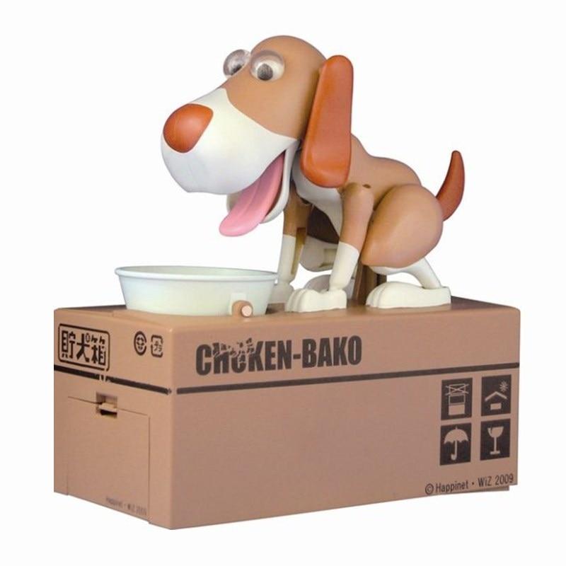 1 piezas de dibujos animados perro robótico Banco Caja de dinero Banco automática robó moneda hucha ahorro de dinero de los bancos regalo Moneybox