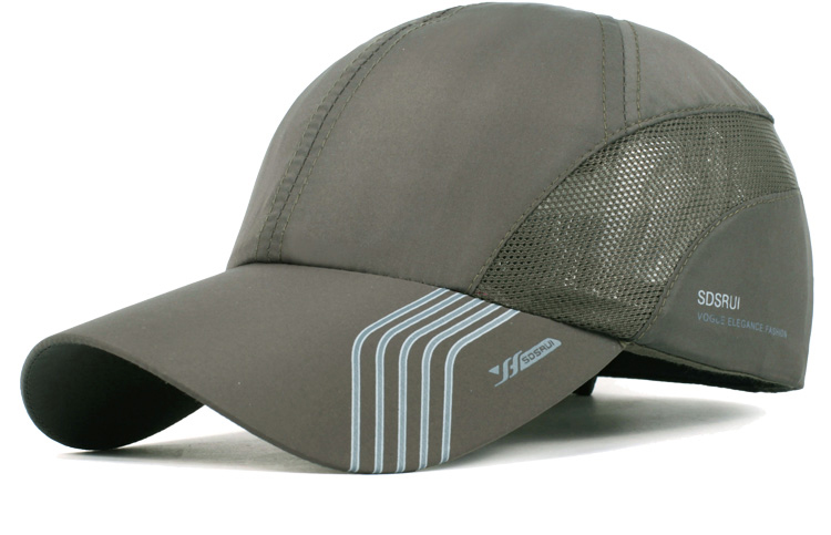 Striped Brim Sporty Baseball Cap - Army Green Cap Front Angle View