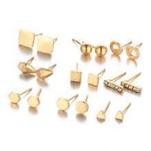 New 9 Pairs/Set Punk Gold Color Stud Earring For Women Men Summer Style Vintage Hollow Round Earrings Set Fashion Jewelry(China)