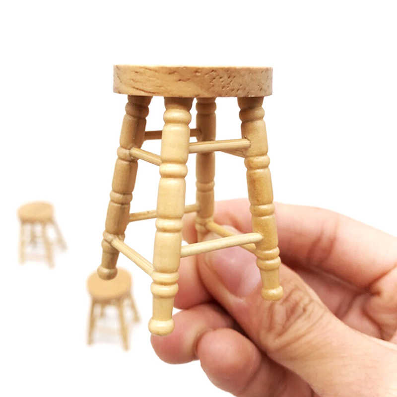 1/12 Dollhouse Wooden Miniature Accessories Mini Stool Simulation Chair Furniture Model Toys for Doll House Decoration