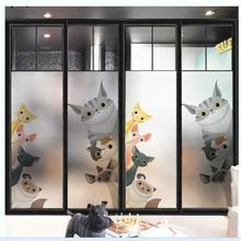 windows glass stickers Cartoon cat scrub electrostatic window frosted film kindergarten translucent opaque