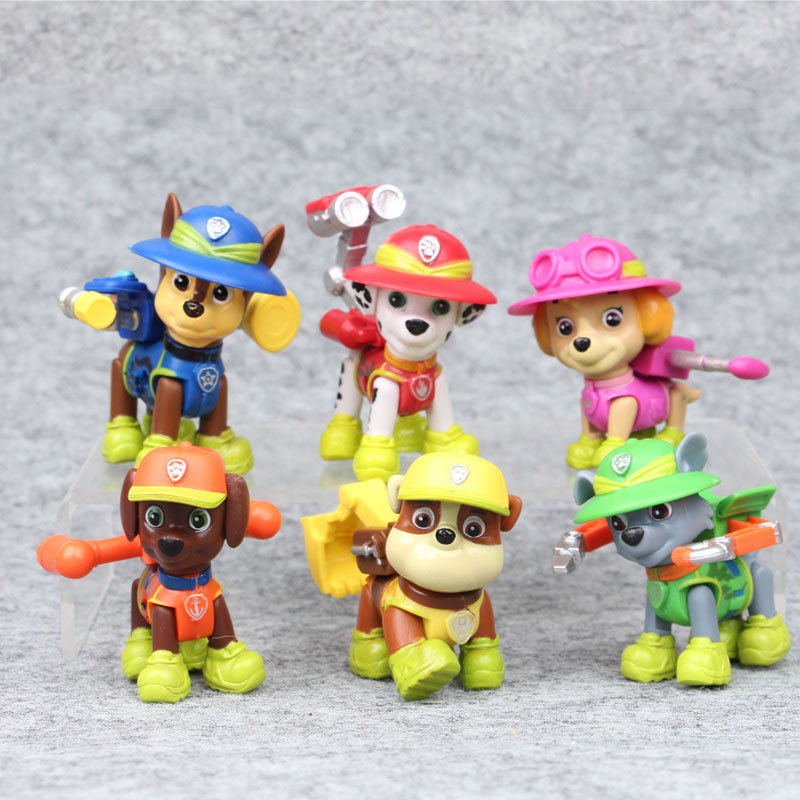 6Pcs New Cartoon Anime Canine Patrol Dog Toys Action Figures Car Patrol Puppy Toy Model Dolls For Children Birthday Gifts
