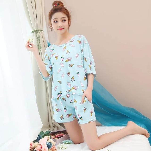 14b4640c8229 Ice Cream Pajama Set Women Pug Print 2 Pieces Set Crop Top + Shorts Elastic  Waist Pajamas Loose Home Wear Lounge pyjamas