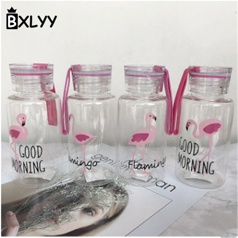BXLYY 300ml Creative Flamingo Plastic Kettle Portable Sports Cute Handle Travel Board Water Bottle DIY Wedding Decor Gifts.8z