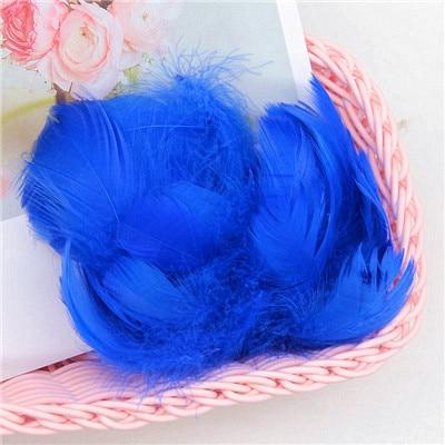 Разноцветные, 100 шт, гусиные перья, 8-12 см, гусиные перья, сценический шлейф, перья, промытый гусиный пух, пушистый шлейф для свадьбы, 3-4 дюйма - Цвет: blue