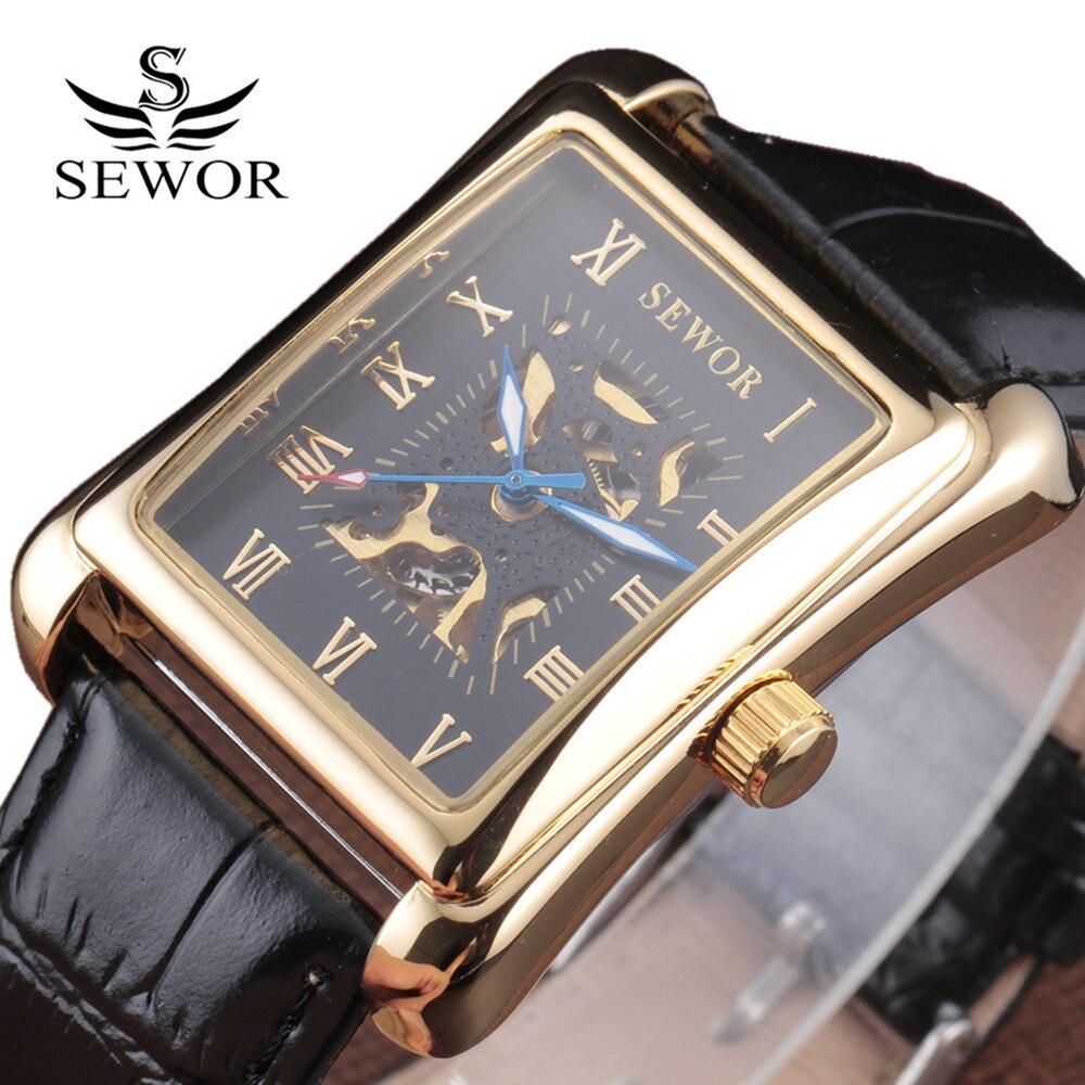 2018 New Fashion Sewor Brand Noble Classic Elegant Skeleton Men Luxury Clock Leather Mechanical Wrist Business Male Sport Watch fashion dali brand leather leather watch luxury classic a6
