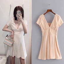 2019 new casual solid summer women dress short sleeve deep v neck back pleated mini ladies dresses chic a line female vestidos new spring summer women blouse short sleeve deep v neck hollow out lace up ladies dresses solid white casual cotton vestidos