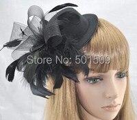 Ücretsiz gemi siyah/pembe/kırmızı/mavi/beyaz/gri/yeşil/mor ortaçağ saç dekorasyon Tüy çiçek peçe şapka sahne kostüm aksesuar
