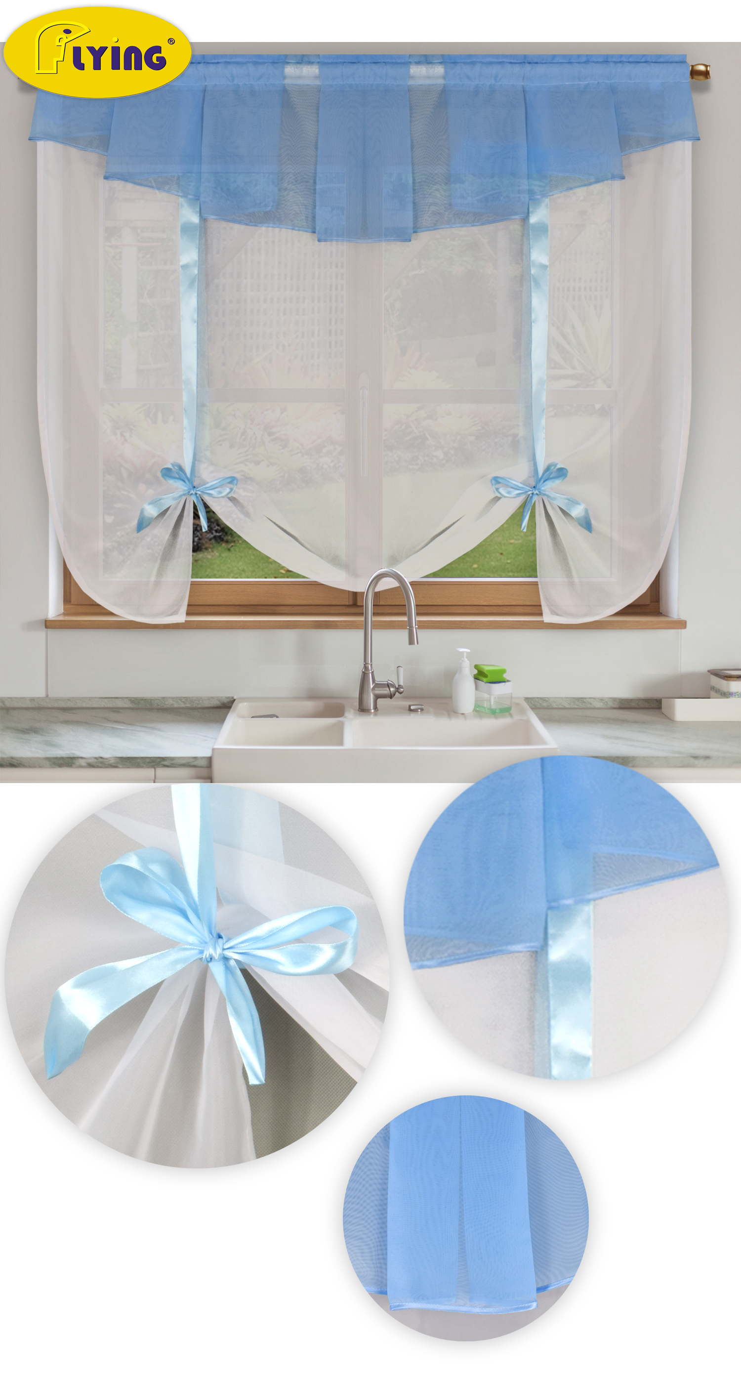 Flying Tulle Balcony Drape Kitchen Window Curtain Sheer Wave Blinds Yarn Sheer Voile Curtains For Kitchen Solid Color