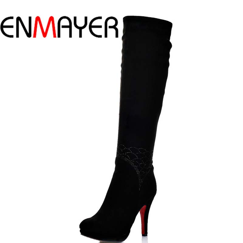 ФОТО ENMAYER New High Heels Women Boots High Quality Round Toe Knee High Boots Winter Shoes Boots Zip Fashion Sexy Platform Boots