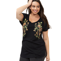 Kissmilk Plus Size New Fashion Crew Neck Tops Floral Print Women Clothing Casual Short Sleeve Big