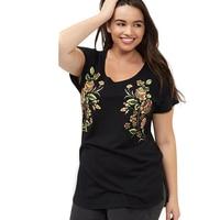 Kissmilk Plus Size New Fashion Crew Neck Tops Floral Print Women Clothing Casual Short Sleeve Big
