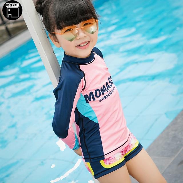0a230e1186472 USEEMALL Summer Little Girls Swimsuit Cute Kids Bathing Suits UV Protection  Long Sleeve Letter Children's Swimwear