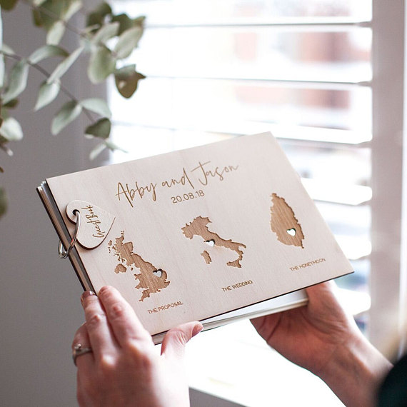 Rustic Personalized World Map Wedding Guest Book Custom State Wedding Guestbook Long Distance Love Wooden Wedding
