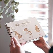 Деревенский персонализированные Карта мира свадьбы Гостевая книга-Пользовательские состояние Свадебная Гостевая книга-междугородние любовь-Деревянная Свадьба гостевой книга