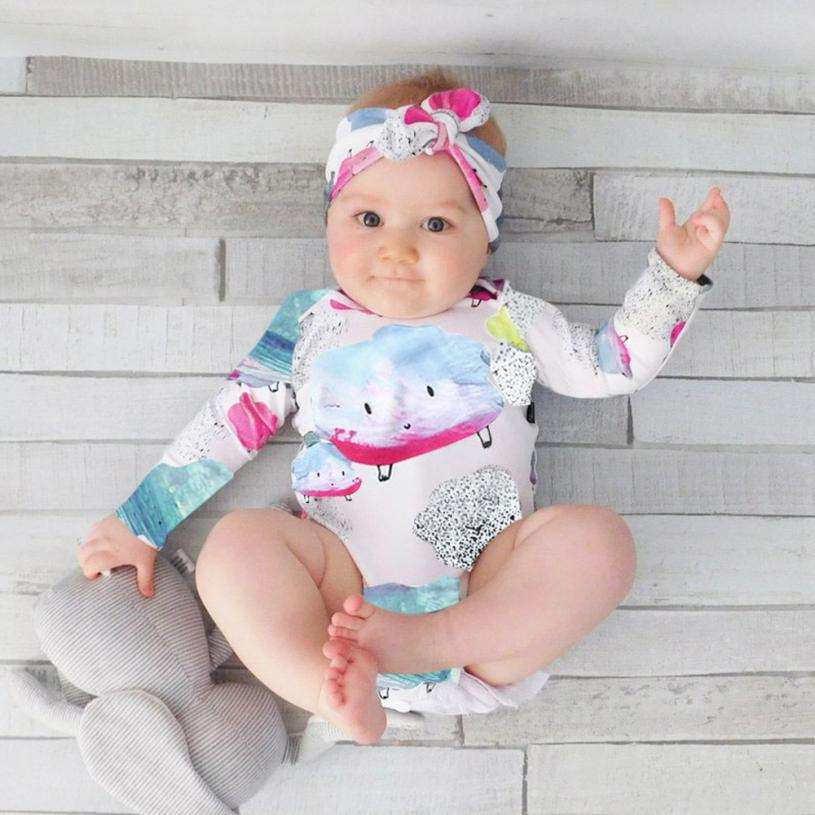 9caaf9b0d Exquisite 2Pcs Kids Baby Clouds Girls Boys Outfits Clothes Romper+Headband  Jumpsuit Rompers Magnificent Children s Clothing Set