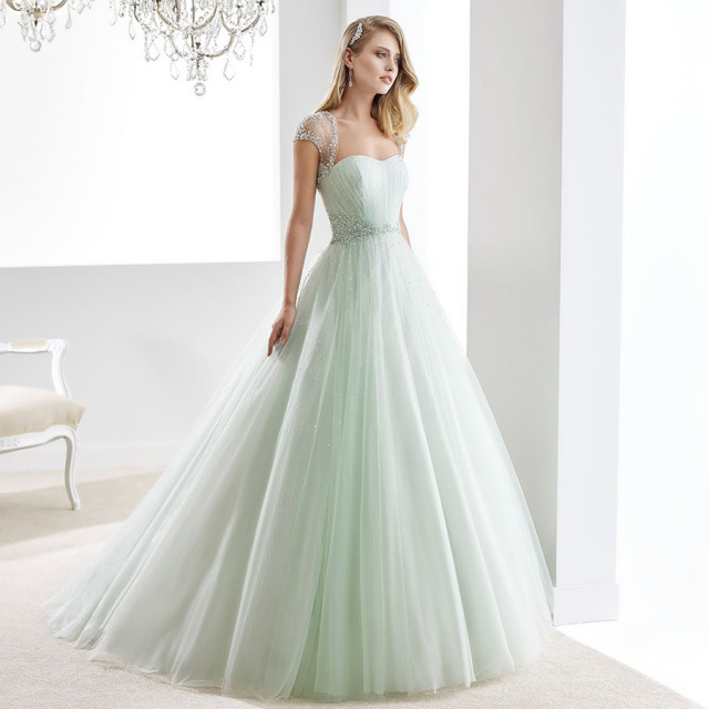 Shiny Beading Tulle Strapless A Line Mint Green Wedding Dress With Jacket Soft Crystals Bridal