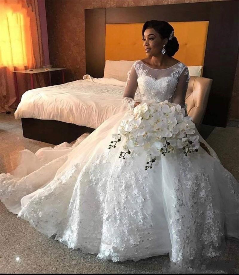 Bien Design encolure dégagée manches longues Appliques robes de mariée africaines 2019 robe de bal robes de mariée sur mesure