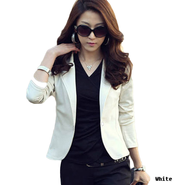 New Autumn Women Blazers Clothes Slim Top OL Jacket Coat Lapel One Button Three Quarter Sleeve Outerwear Short Suit