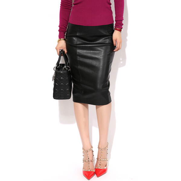 Knee Length Leather Skirt - Skirts