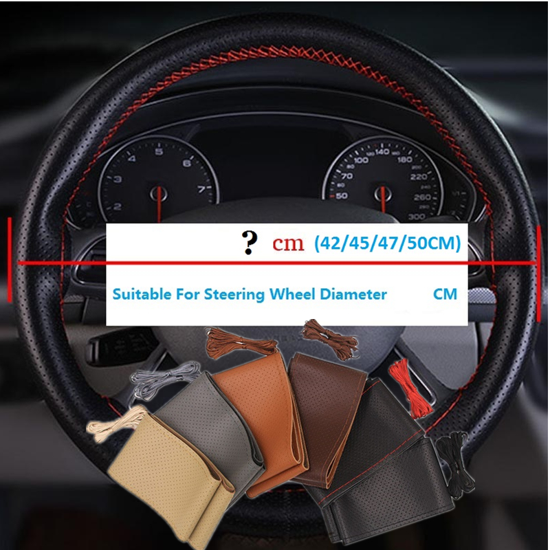 Genuine Leather 42/45/47/50 CM Bus Truck Car Steering Wheel Cover For BENZ IVECO Cummins TRUCK Bus Van Lorry
