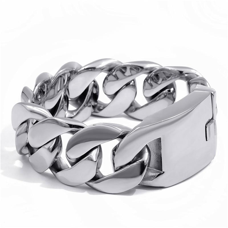 25mm de large chaîne pour hommes finition mate gourmette chaîne à maillons cubains Bracelet en acier inoxydable 316L SB024