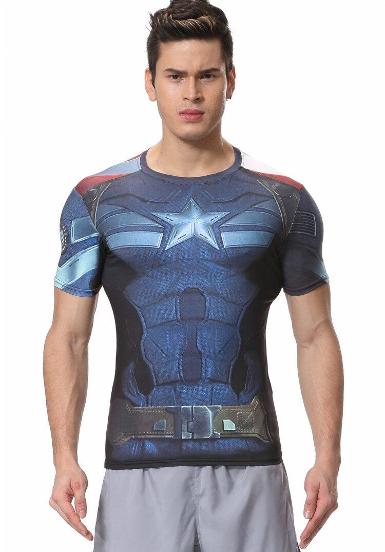 Plume rouge homme Compression Sport Marvel Comics manches courtes elastique Captain America T-shirt