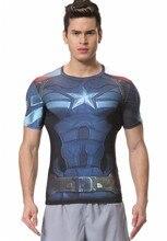 Red Plume Men's Compression Sport Marvel Comics Short Sleeve Elastic Captain America T-shirt