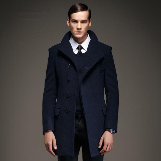 f4d6b186d35b9 Moda hombres guisante capa chaqueta de lana y mezclas 2016 nuevos hombres  abrigo de invierno abrigo