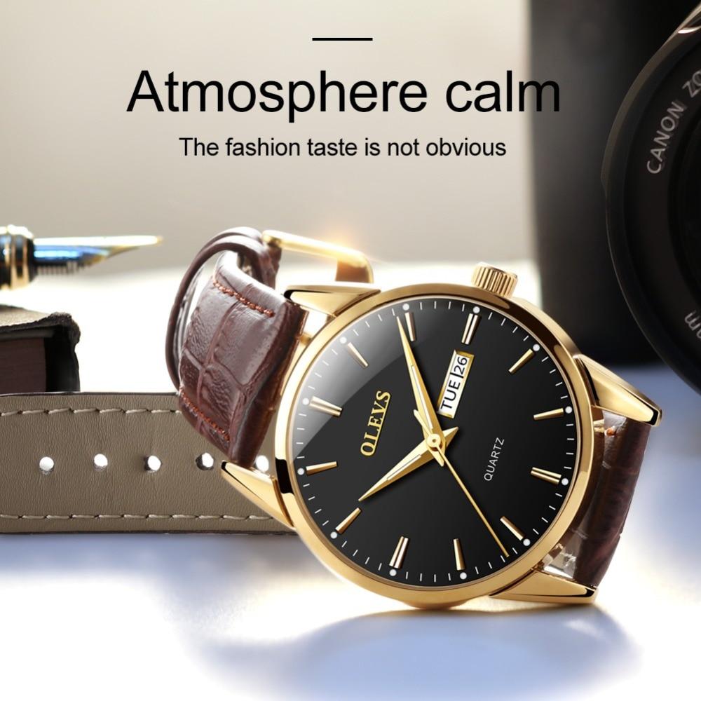 HTB159i9b8gXBuNjt hNq6yEiFXaU Mens Watches Top Brand Luxury OLEVS Fashion Watch Men Leather Quartz Watch For Male Auto Date Rose Gold Shell relogio masculino